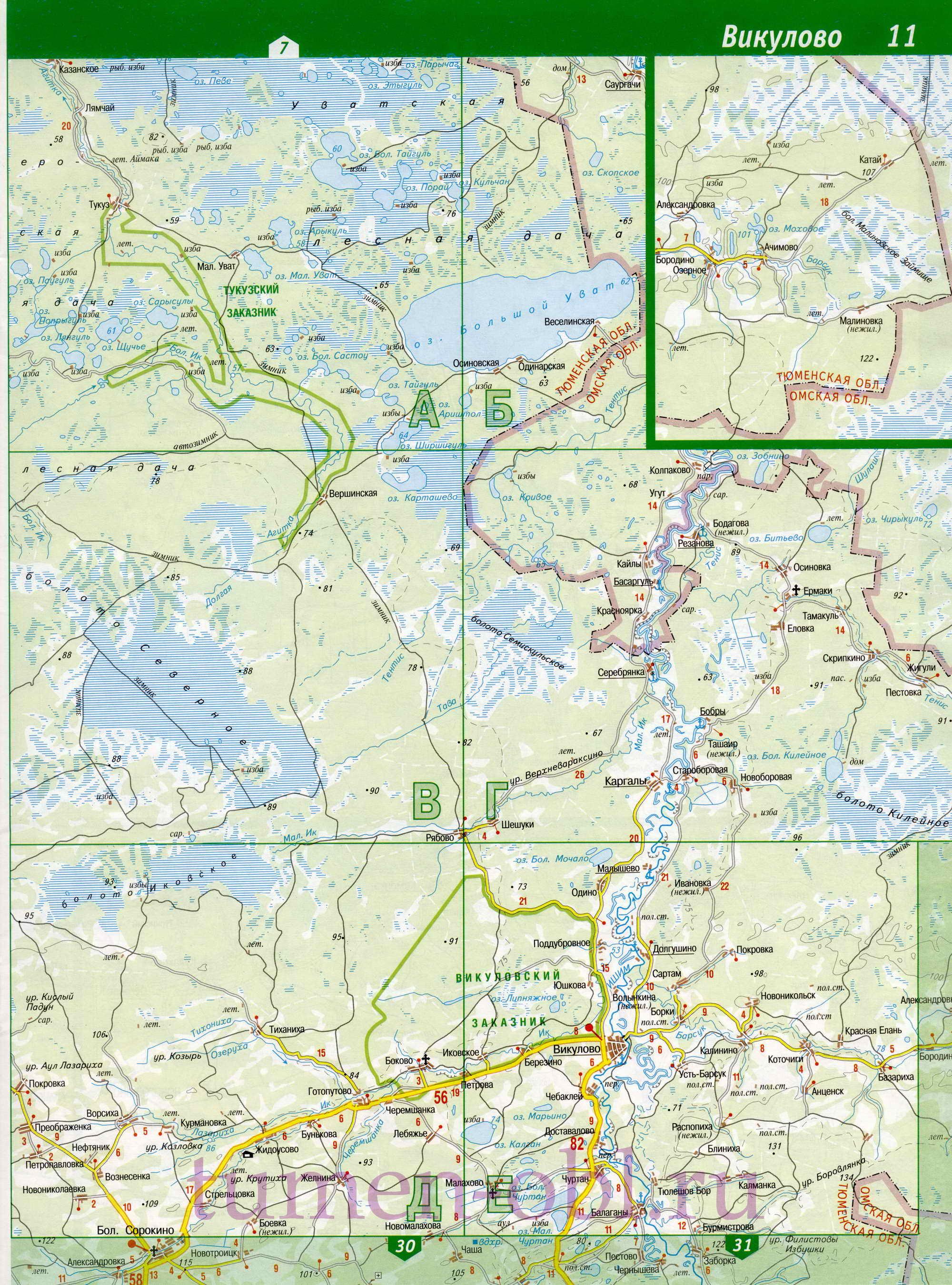 Карта Викуловского района Тюменской обл. Детальная карта ...: http://tumen-obl.ru/map759234_0_0.htm